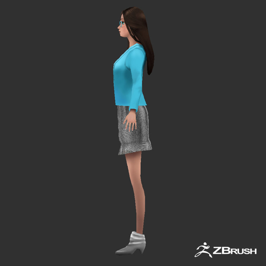 Anime female character royalty-free 3d model - Preview no. 3