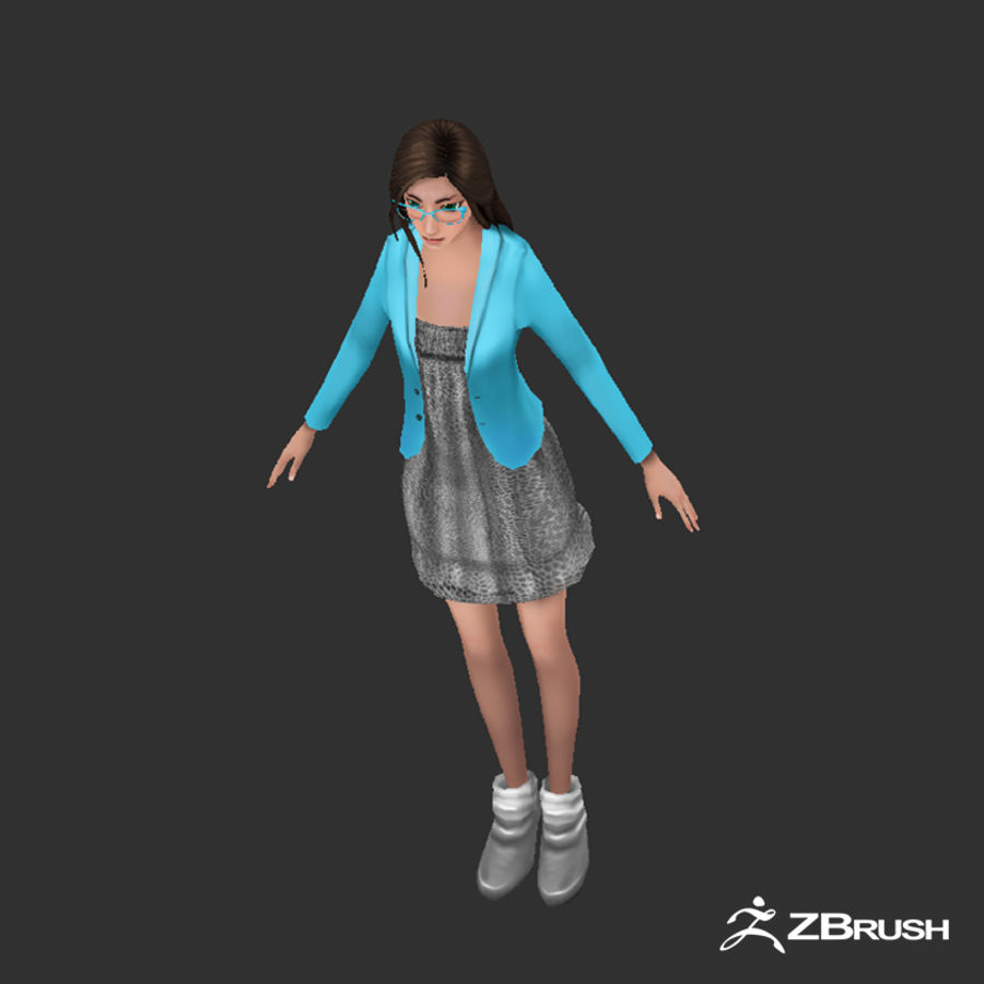 Anime female character royalty-free 3d model - Preview no. 6