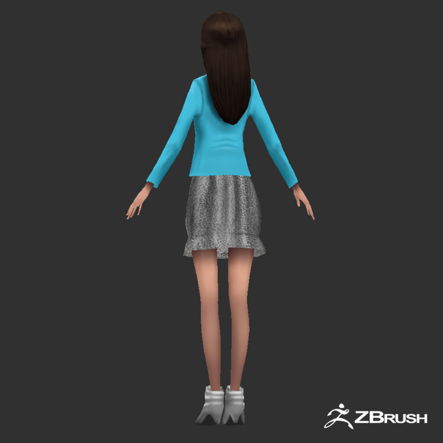 Anime female character royalty-free 3d model - Preview no. 4