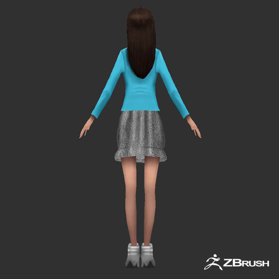 Anime female character royalty-free 3d model - Preview no. 5