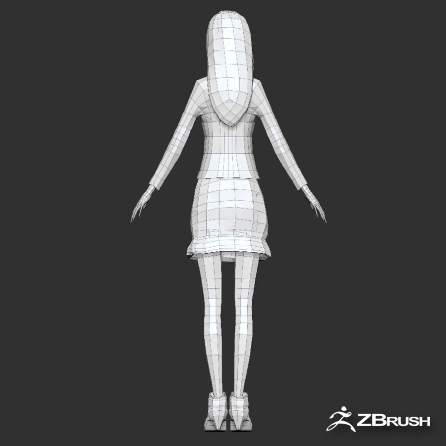 Anime female character royalty-free 3d model - Preview no. 17
