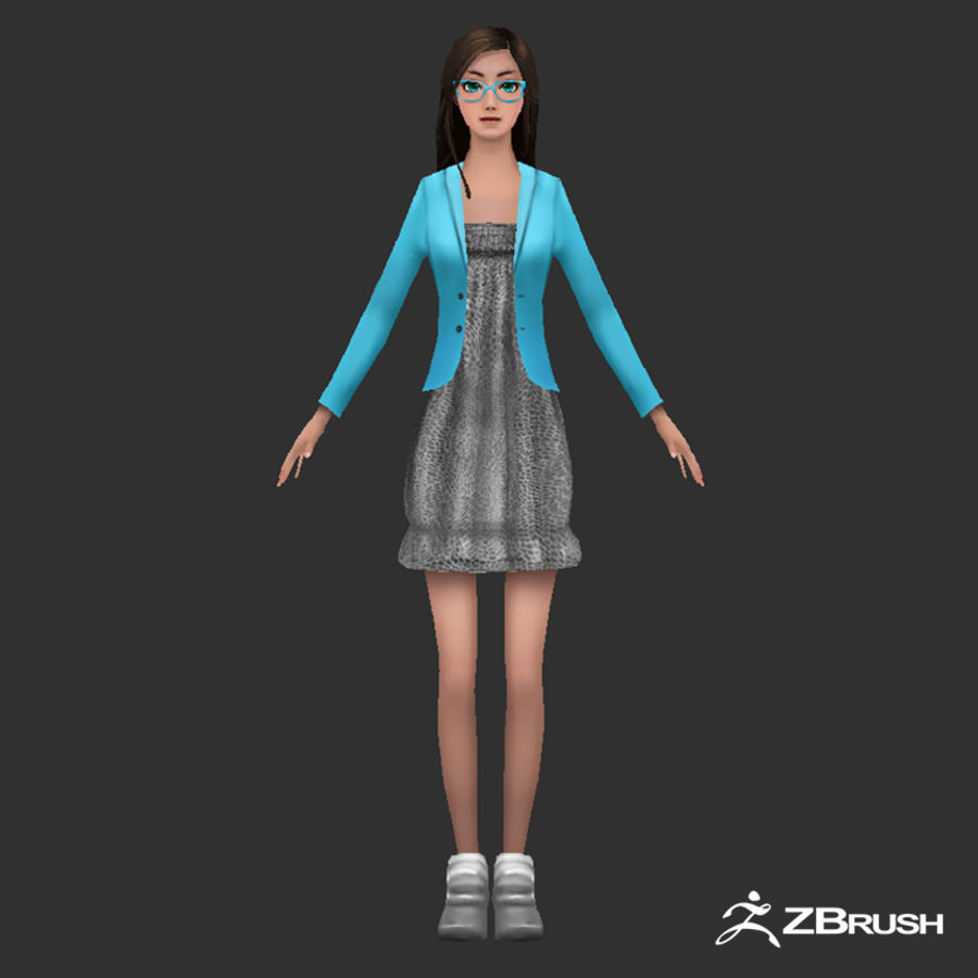 Anime female character royalty-free 3d model - Preview no. 1