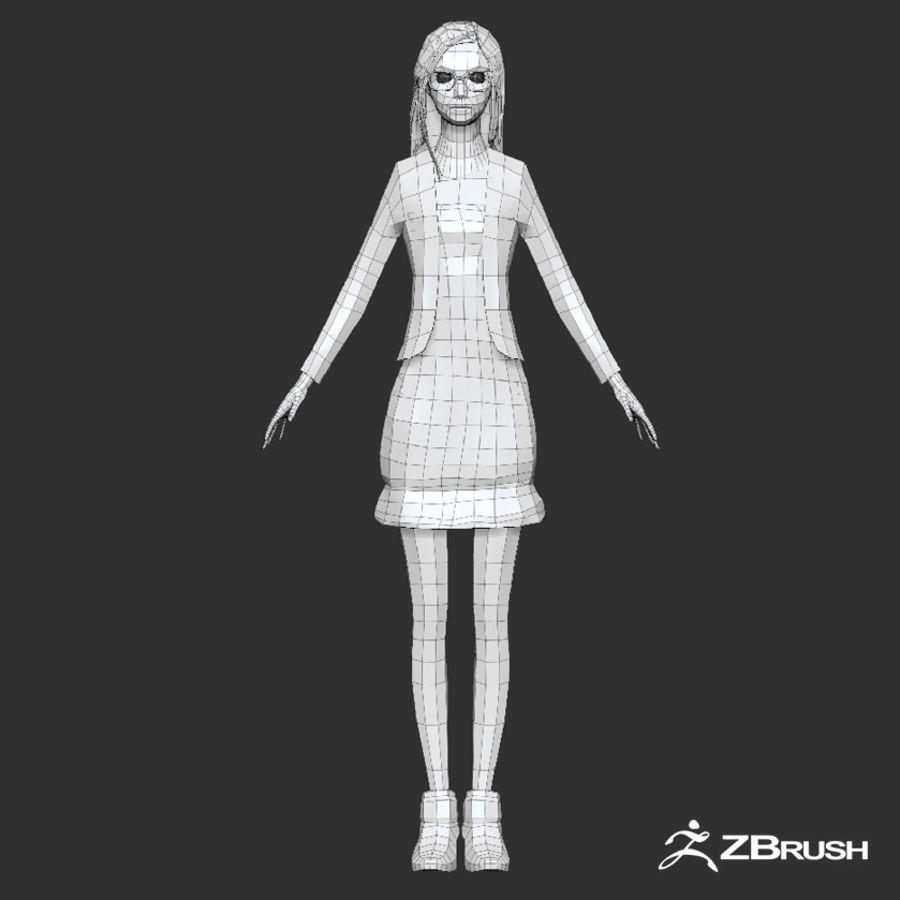 Anime female character royalty-free 3d model - Preview no. 19