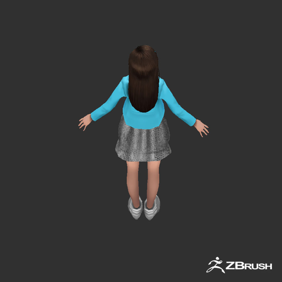 Anime female character royalty-free 3d model - Preview no. 8