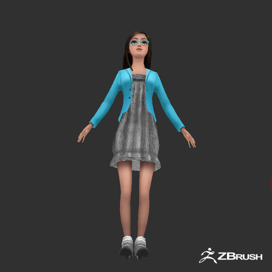 Anime female character royalty-free 3d model - Preview no. 13
