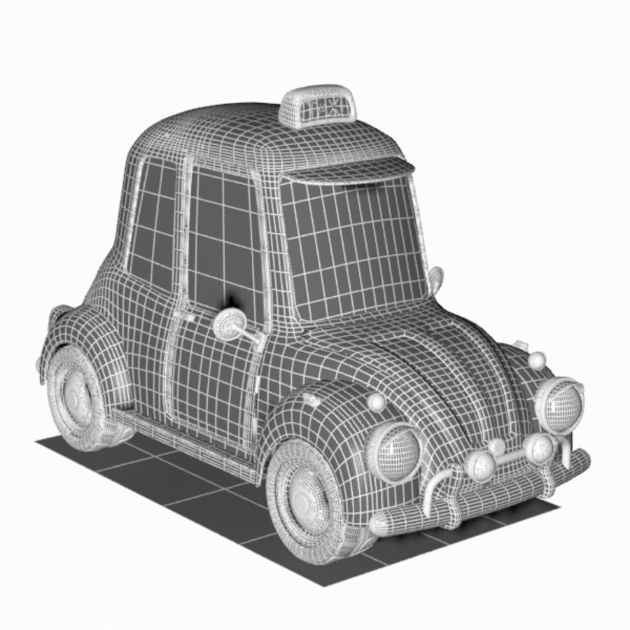 Toon Taxi Car royalty-free 3d model - Preview no. 15