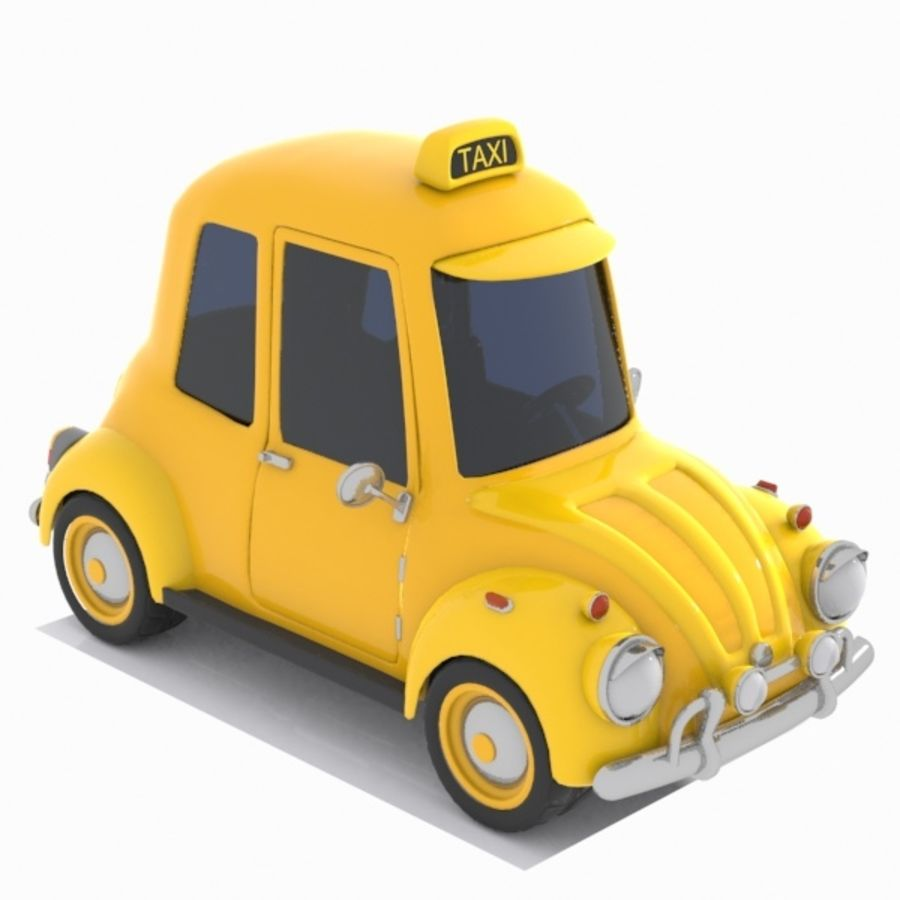 Toon Taxi Car royalty-free 3d model - Preview no. 9