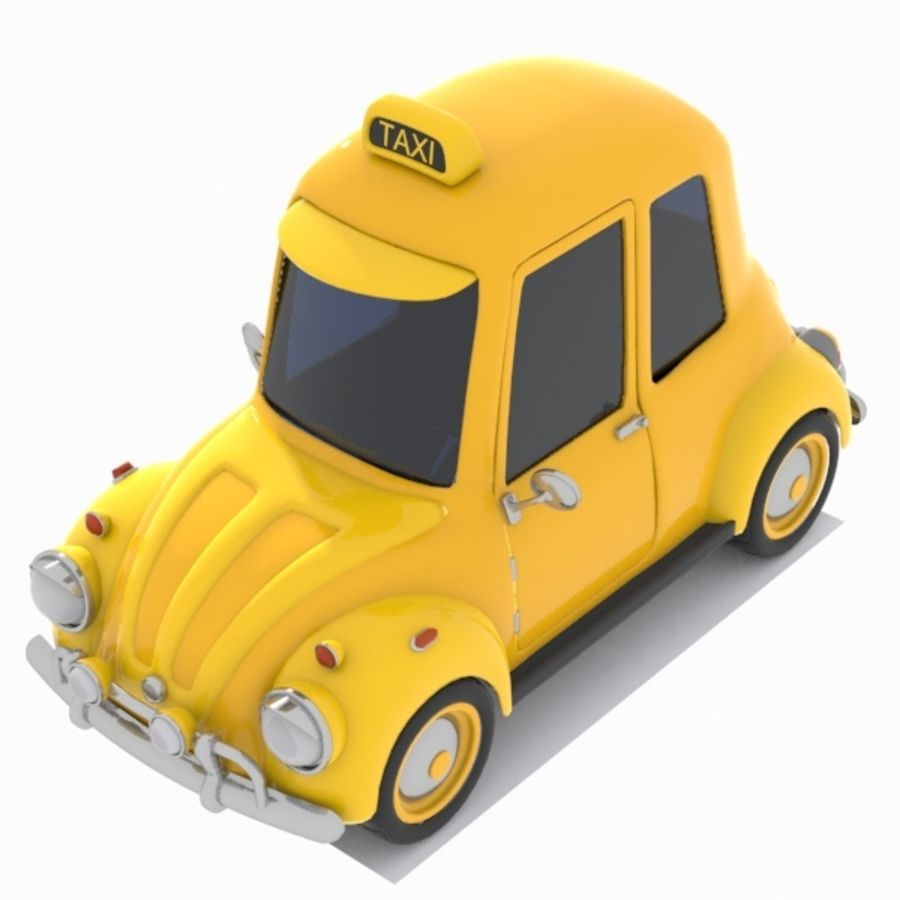 Toon Taxi Car royalty-free 3d model - Preview no. 3