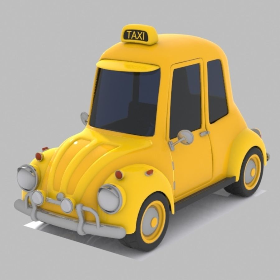 Toon Taxi Car royalty-free 3d model - Preview no. 2