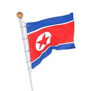 North Korean Flag animated 3d model