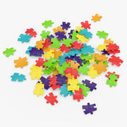 Colored Puzzle Pieces 3D Model 3d model