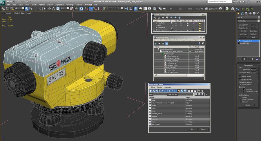 測量機の自動レベル3Dモデル royalty-free 3d model - Preview no. 13