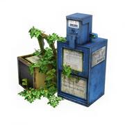 Distribuidor de jornal coberto de vegetação 1 3d model