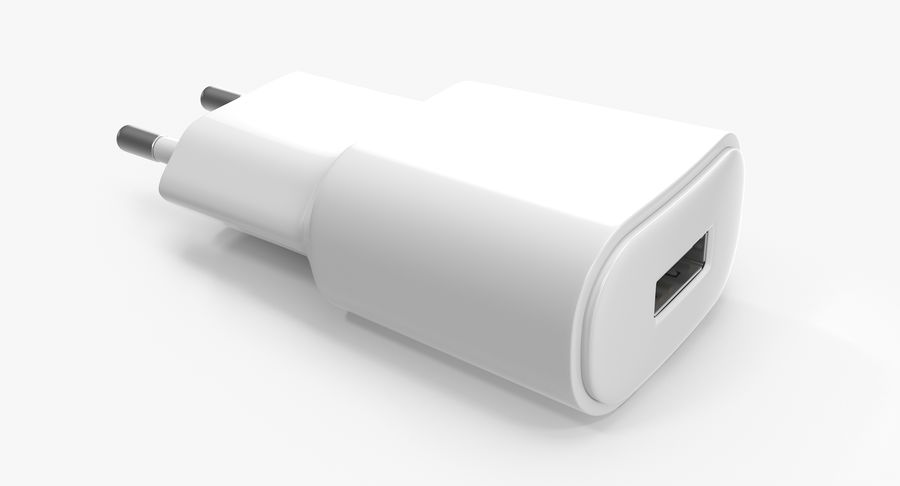 USB-Ladegerät Weiß royalty-free 3d model - Preview no. 8
