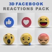 Pacote de reações do Facebook 3d model