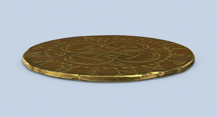 Goldmünze Dirty 2 Flat royalty-free 3d model - Preview no. 6