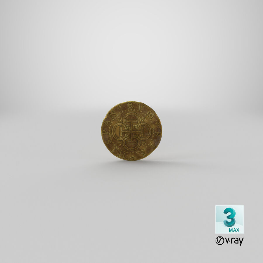 Goldmünze Dirty 2 Flat royalty-free 3d model - Preview no. 21