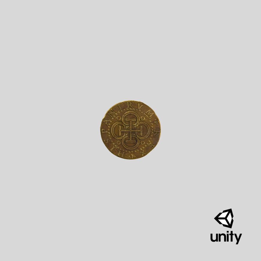 Goldmünze Dirty 2 Flat royalty-free 3d model - Preview no. 25