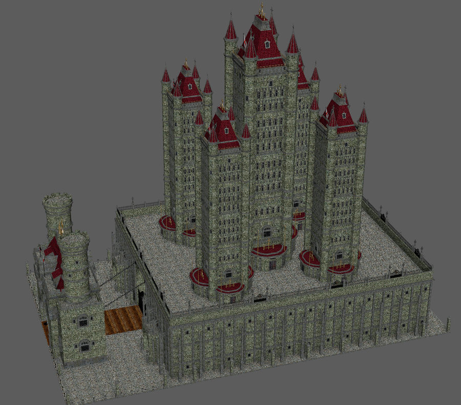 Fantasy Towers Castle royalty-free 3d model - Preview no. 19