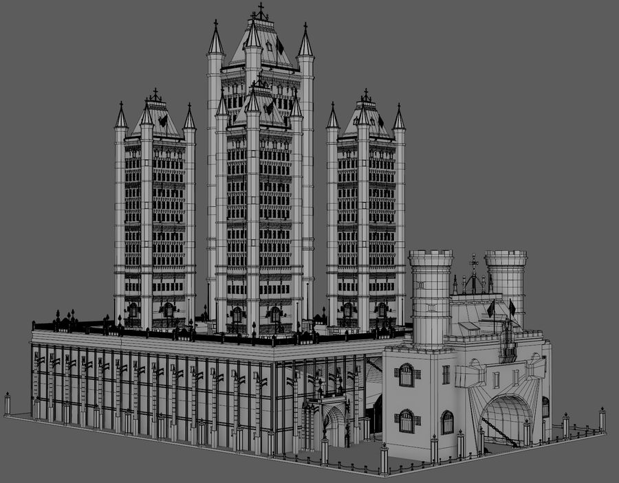 Fantasy Towers Castle royalty-free 3d model - Preview no. 10