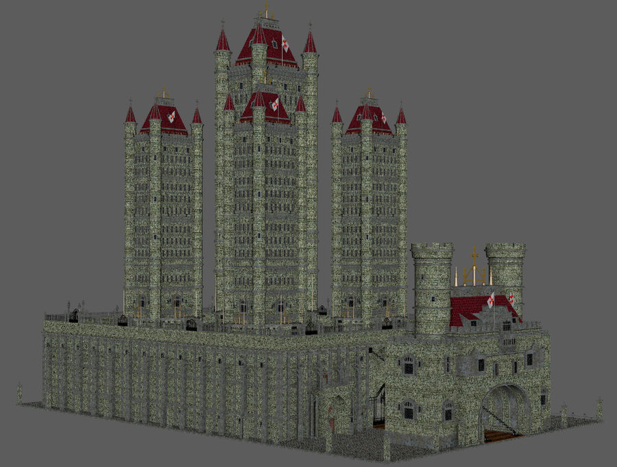 Fantasy Towers Castle royalty-free 3d model - Preview no. 9
