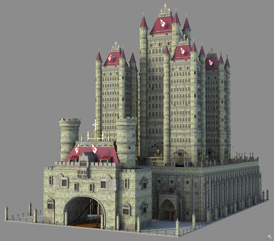 Fantasy Towers Castle royalty-free 3d model - Preview no. 2