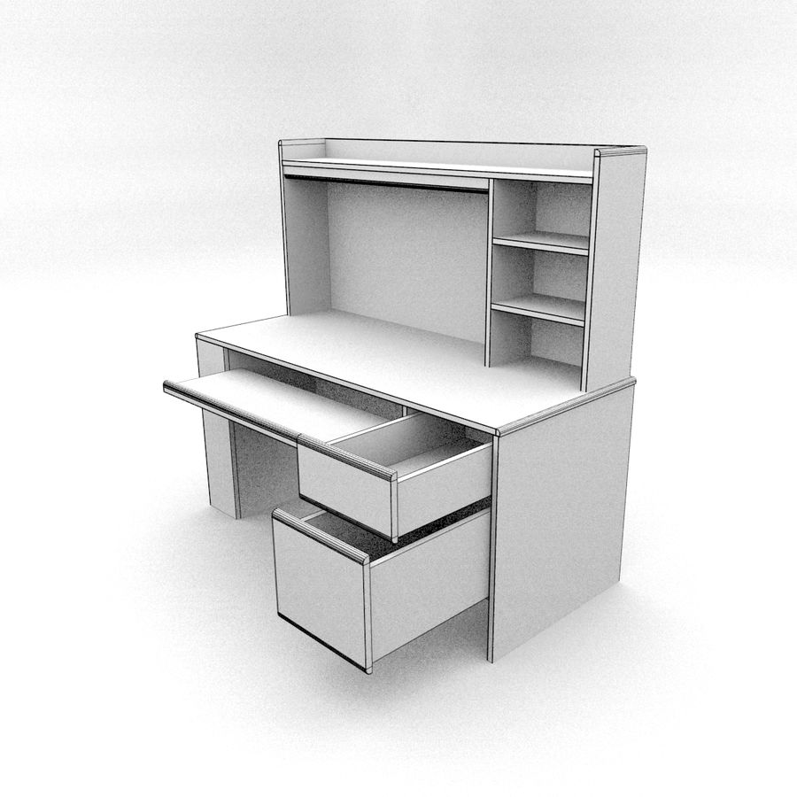 Classic Computer Desk royalty-free 3d model - Preview no. 7
