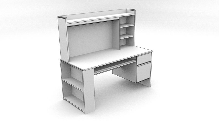 Classic Computer Desk royalty-free 3d model - Preview no. 3