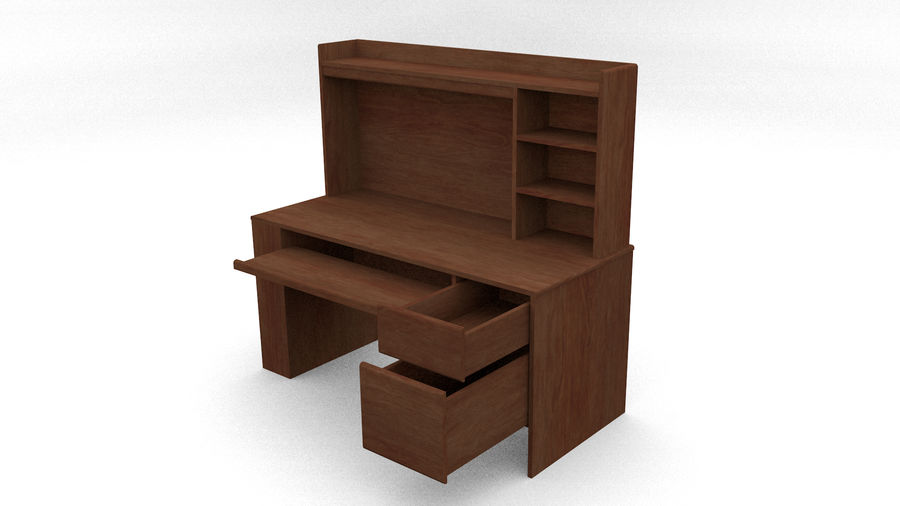 Classic Computer Desk royalty-free 3d model - Preview no. 6