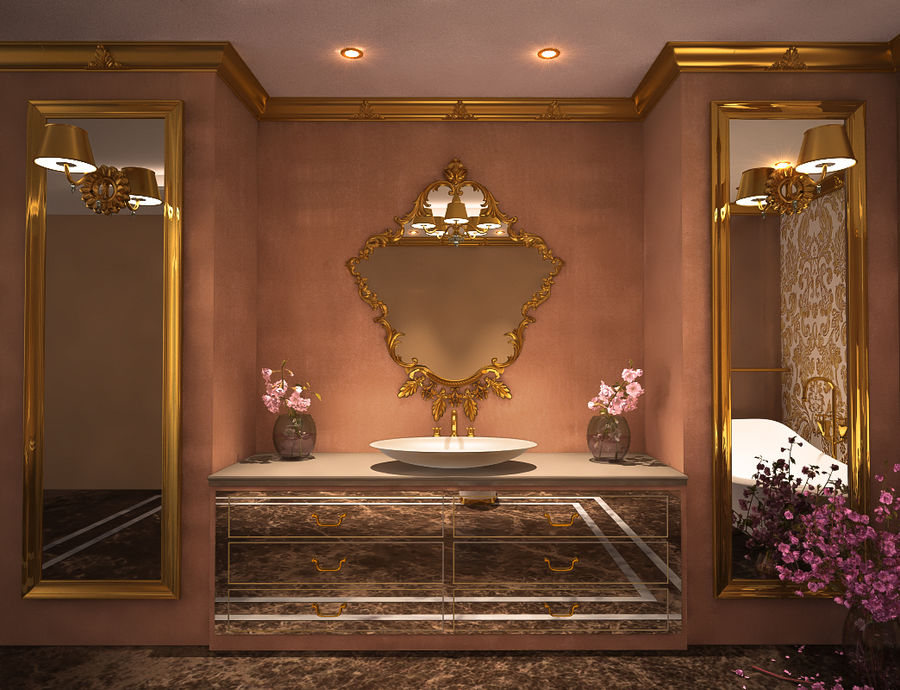 Bathroom Luxury Gold 1 royalty-free 3d model - Preview no. 4