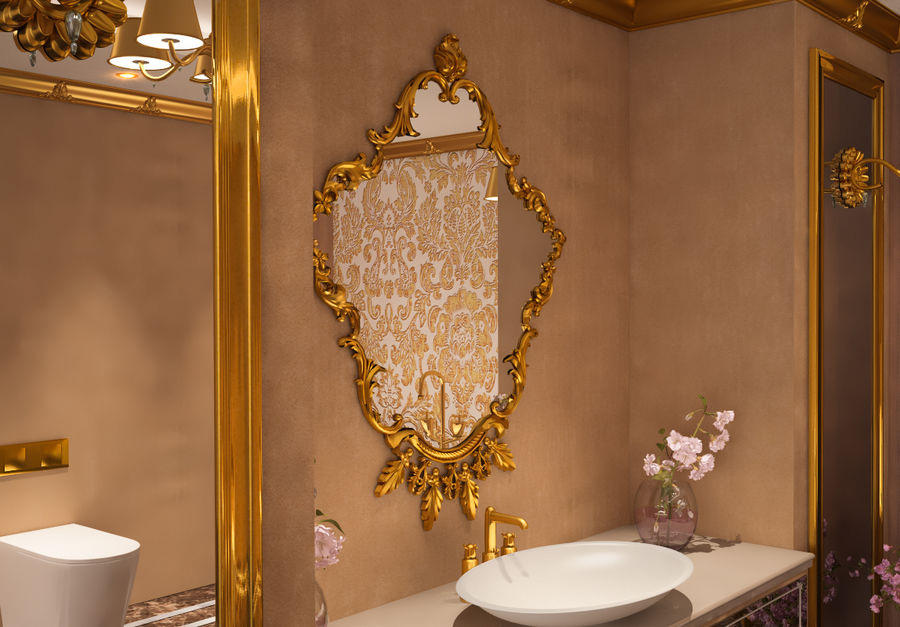 Bathroom Luxury Gold 1 royalty-free 3d model - Preview no. 8