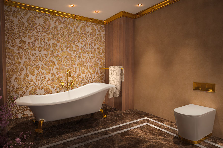 Bathroom Luxury Gold 1 royalty-free 3d model - Preview no. 5