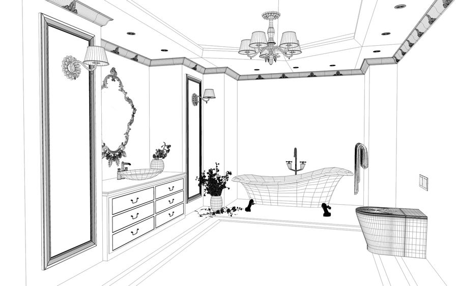 Bathroom Luxury Gold 1 royalty-free 3d model - Preview no. 9