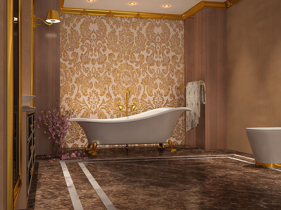 Bathroom Luxury Gold 1 royalty-free 3d model - Preview no. 6