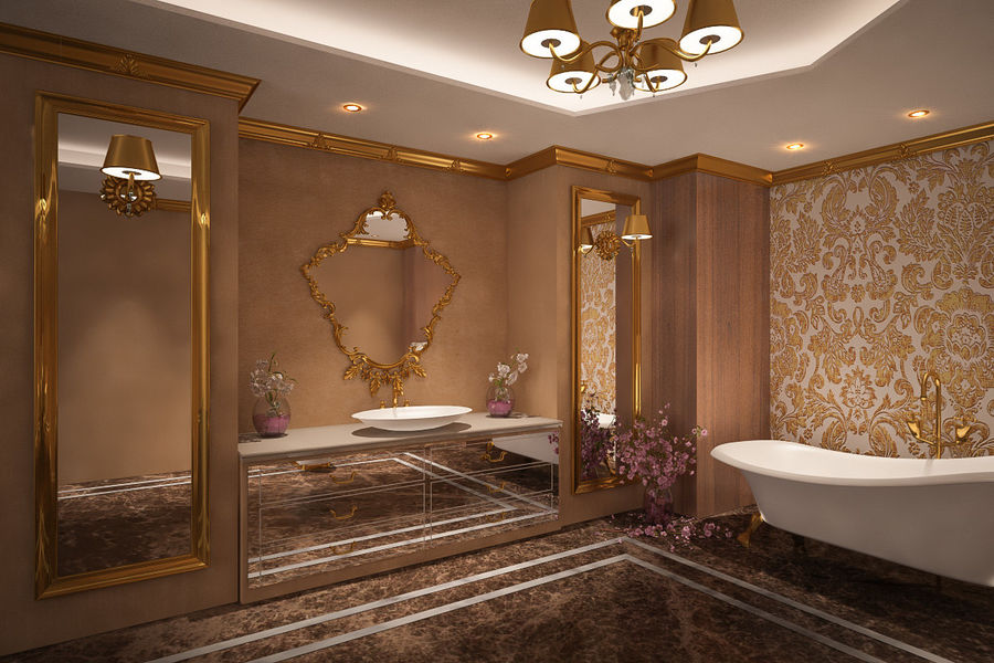 Bathroom Luxury Gold 1 royalty-free 3d model - Preview no. 2