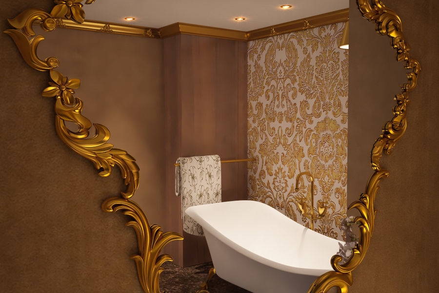 Bathroom Luxury Gold 1 royalty-free 3d model - Preview no. 7