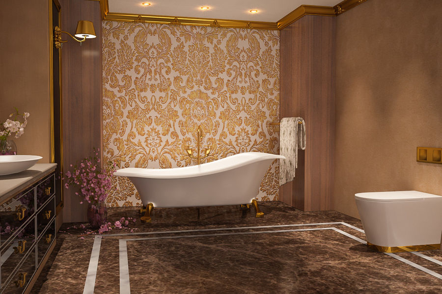 Bathroom Luxury Gold 1 royalty-free 3d model - Preview no. 3