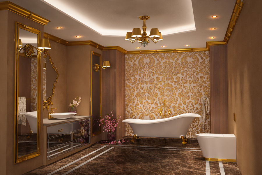 Bathroom Luxury Gold 1 royalty-free 3d model - Preview no. 1