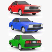 3つの低ポリ漫画車3Dモデル 3d model