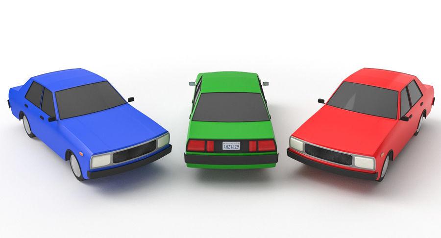 3つの低ポリ漫画車3Dモデル royalty-free 3d model - Preview no. 2