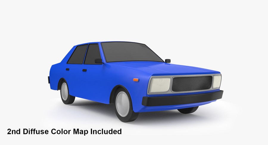 3つの低ポリ漫画車3Dモデル royalty-free 3d model - Preview no. 6