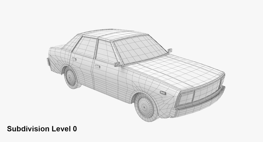 3つの低ポリ漫画車3Dモデル royalty-free 3d model - Preview no. 18