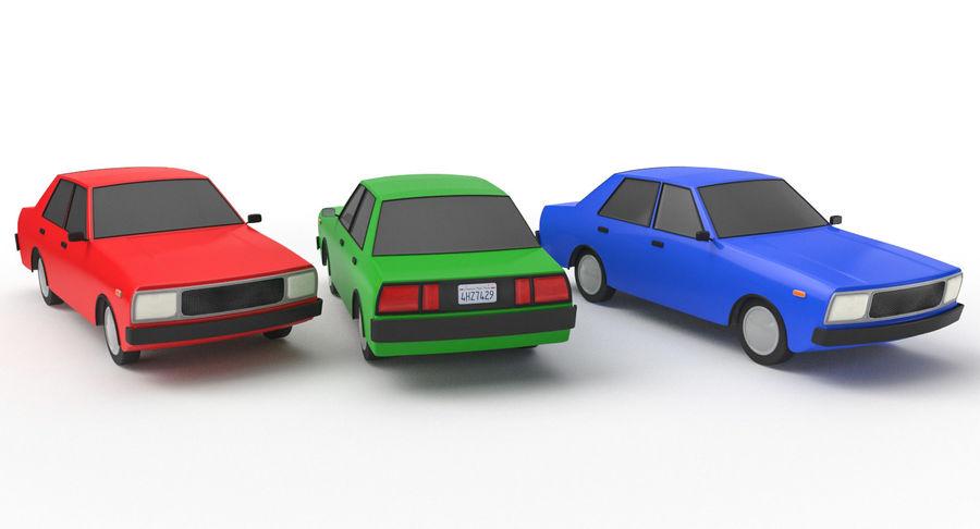 3つの低ポリ漫画車3Dモデル royalty-free 3d model - Preview no. 3