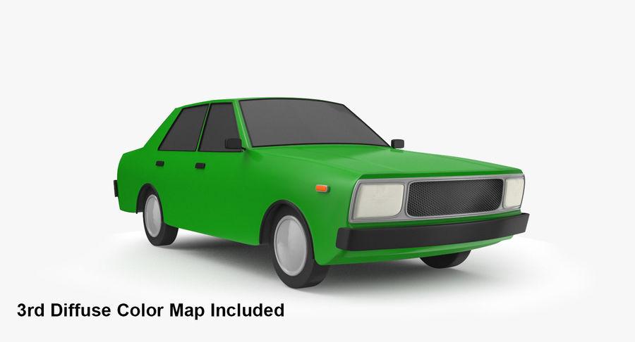 3つの低ポリ漫画車3Dモデル royalty-free 3d model - Preview no. 7