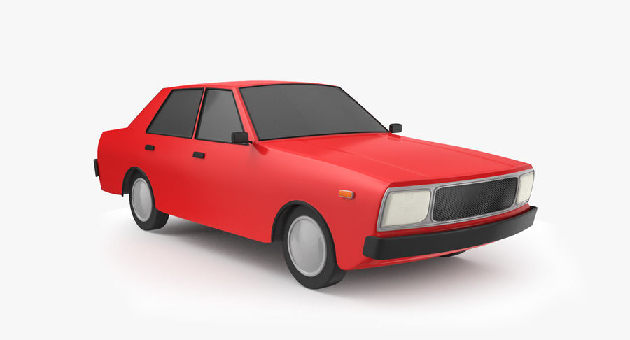 3つの低ポリ漫画車3Dモデル royalty-free 3d model - Preview no. 4