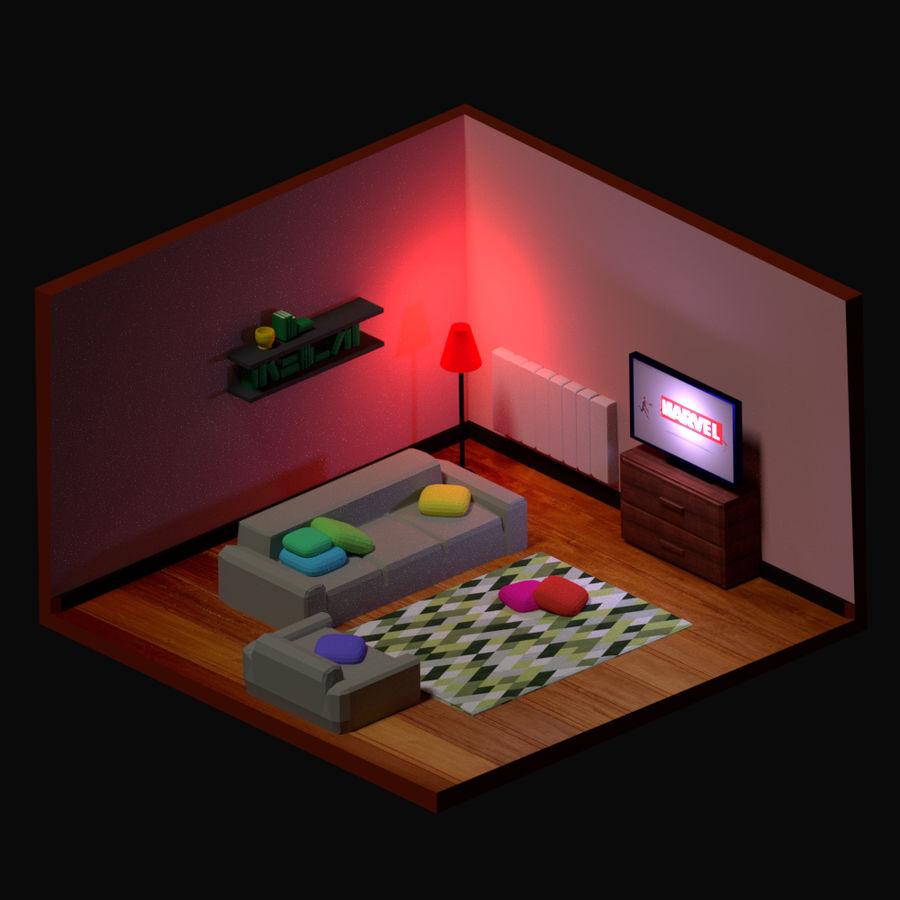 chambre basse polygonale (1) royalty-free 3d model - Preview no. 1
