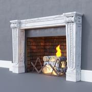 Fireplace classic with fire and firewood 3d model