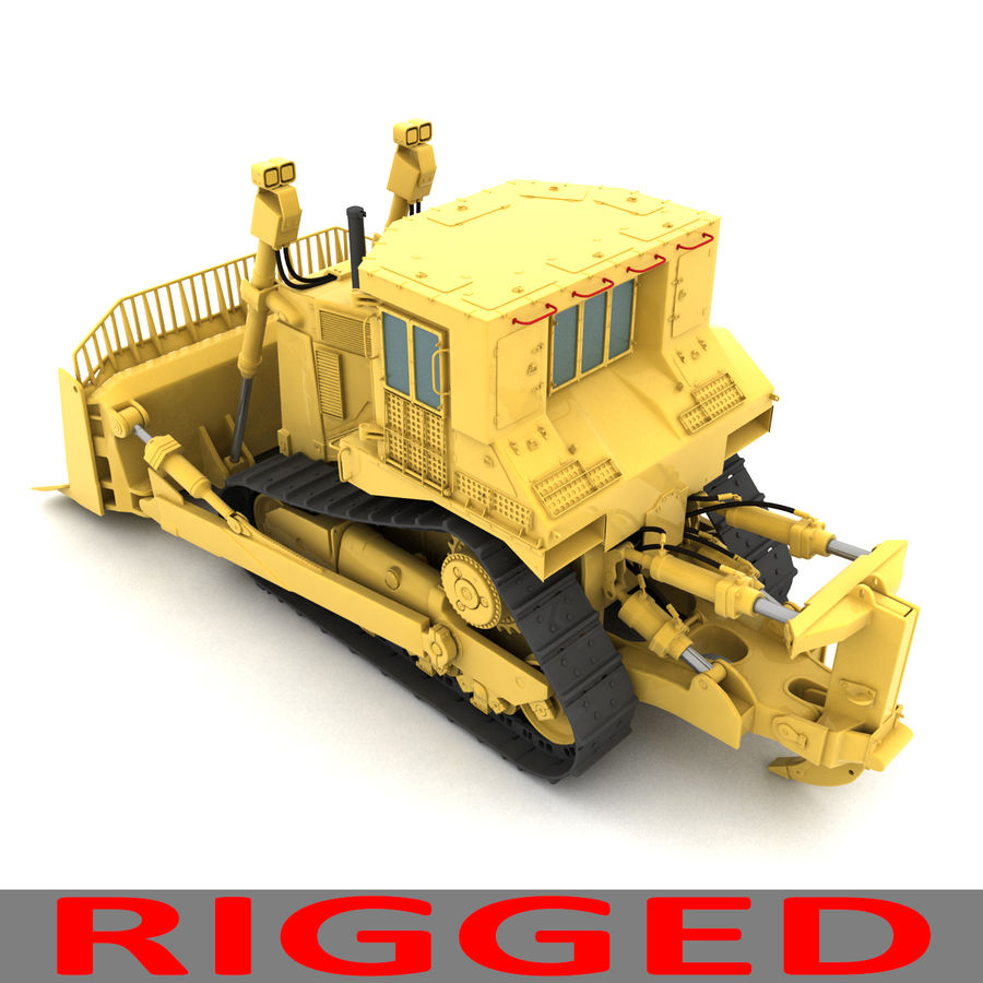 Rigged Bulldozer royalty-free 3d model - Preview no. 4