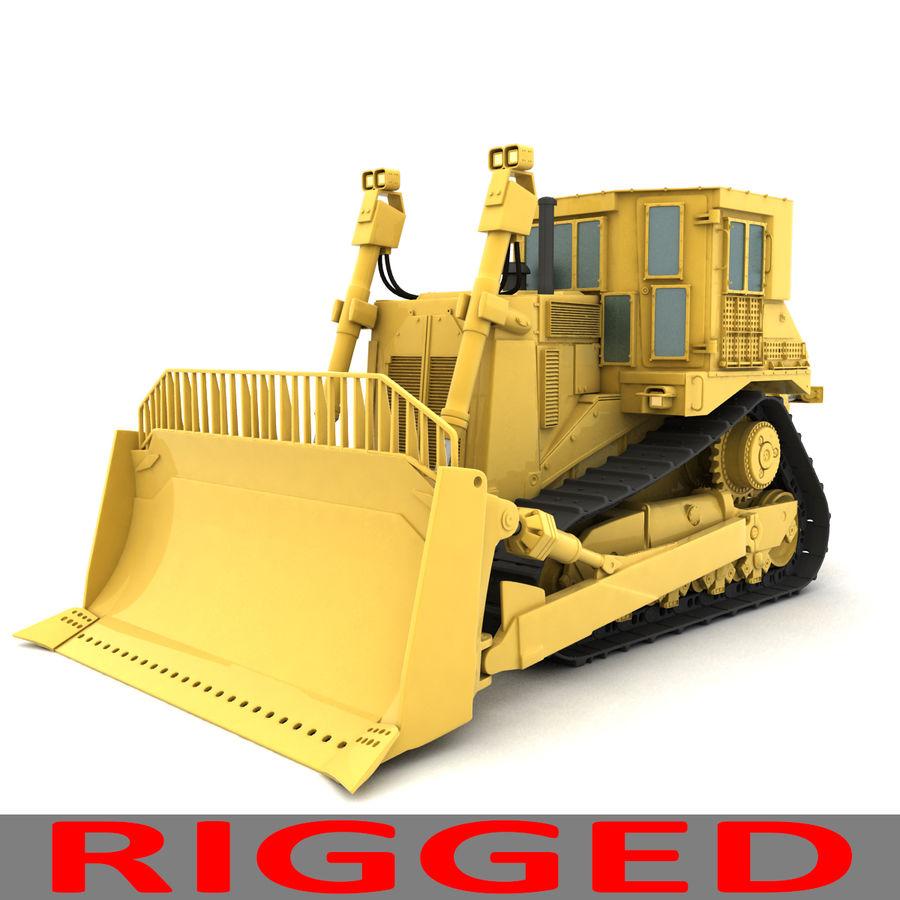 Rigged Bulldozer royalty-free 3d model - Preview no. 2