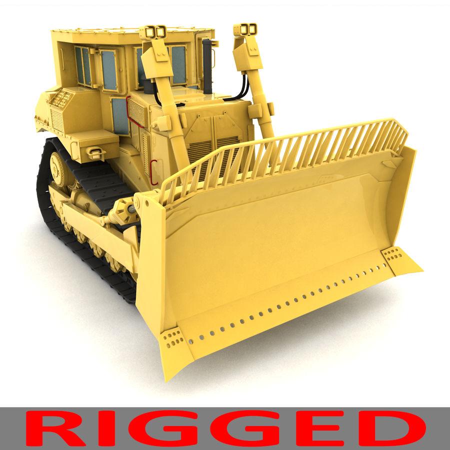 Rigged Bulldozer royalty-free 3d model - Preview no. 3